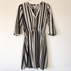 Tempted Los Angeles Earth Tone Striped Dress
